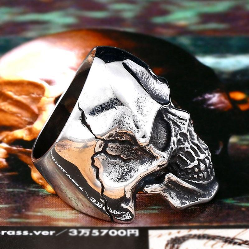 Guys Scary Grinning Silver Skull Biker Bands - The Black Ravens