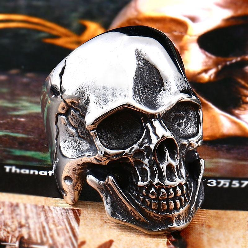 Guys Scary Grinning Silver Skull Biker Bands-7-Big one-