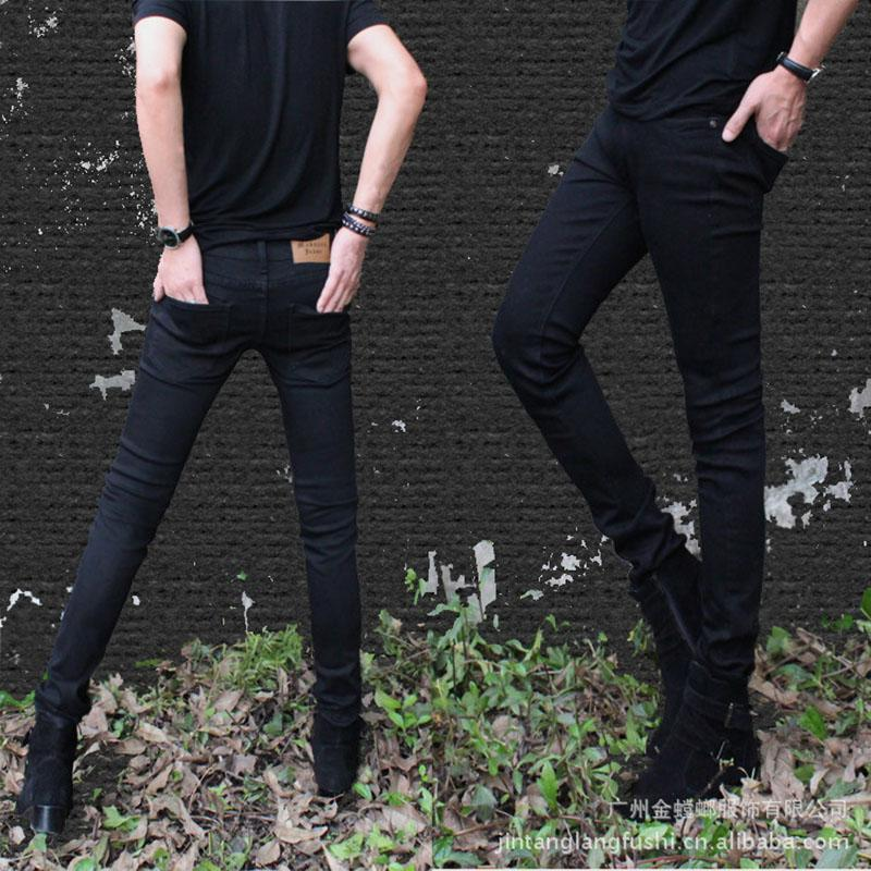 Guys Super Black Skinny Jeans-Black-25-