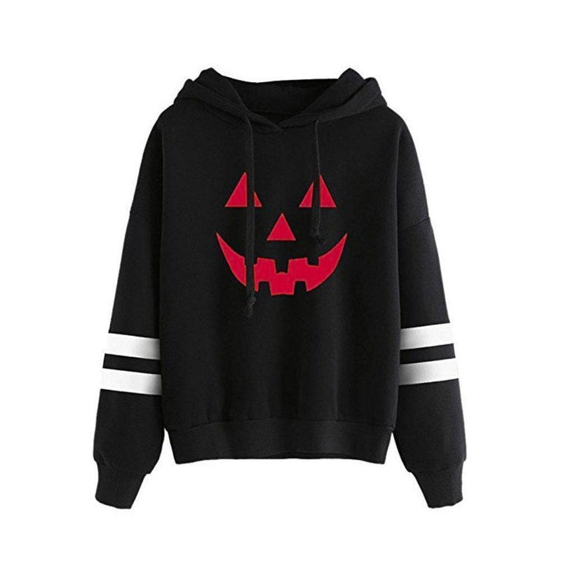 Halloween Pumpkin Face Casual Hoodie-Black-S-