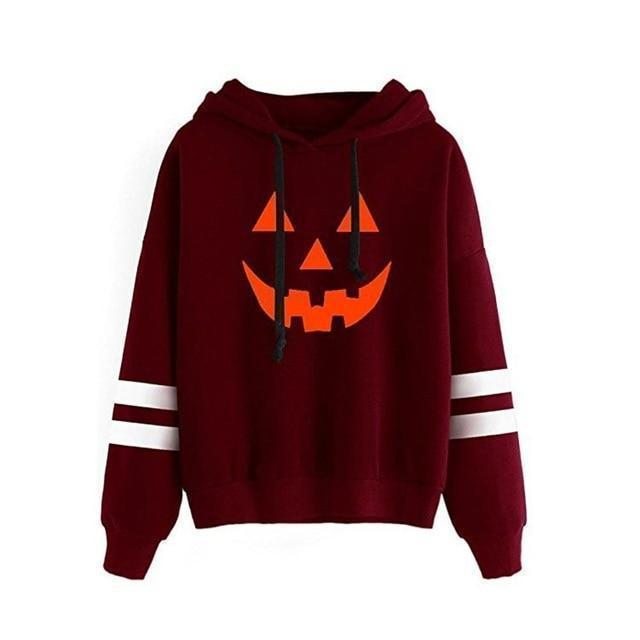 Halloween Pumpkin Face Casual Hoodie-Burgundy-S-