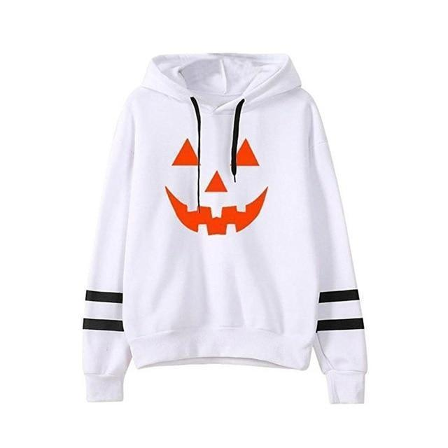 Halloween Pumpkin Face Casual Hoodie-White-S-