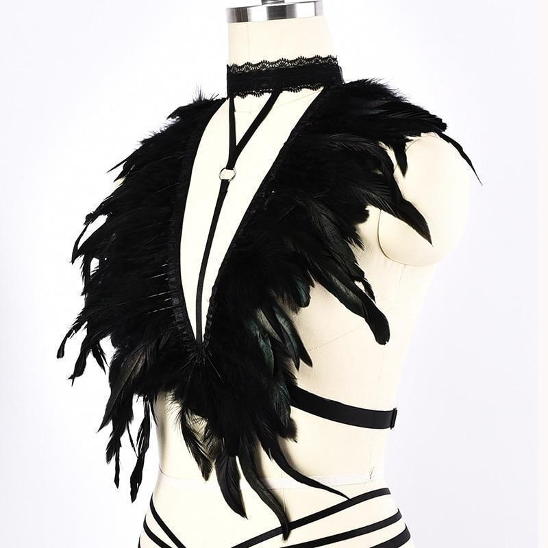 Halter Choker Bust Feathers Cage-