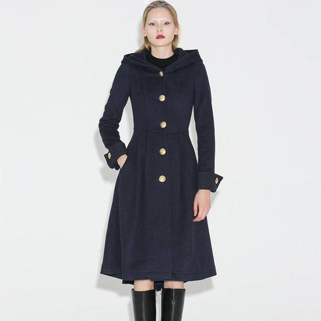 High-Fashioned Ladies' Vintage Winter Coat-Blue-S-