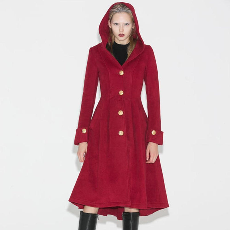 High-Fashioned Ladies' Vintage Winter Coat-Red-S-