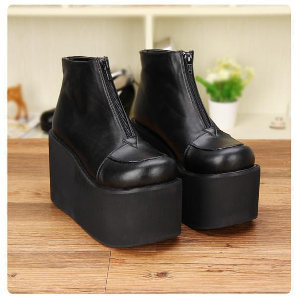 High Heel Thick Platform Lolita Wedge-Black Pu 10Cm Heel-11-