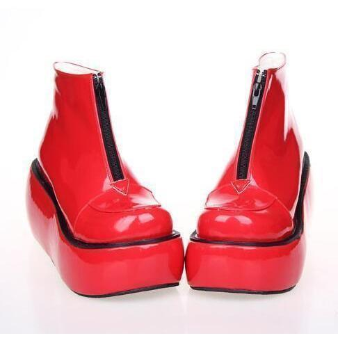 High Heel Thick Platform Lolita Wedge-Red Pl 8Cm Heel-11-