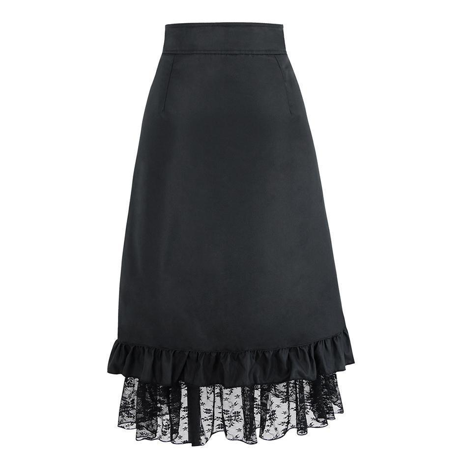 High Waist Black Vintage Lace Skirts - The Black Ravens