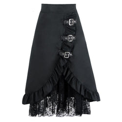 High Waist Black Vintage Lace Skirts-Black-S-