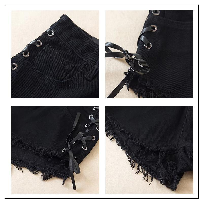 High Waist Criss Cross Lace Shorts-Black-S-