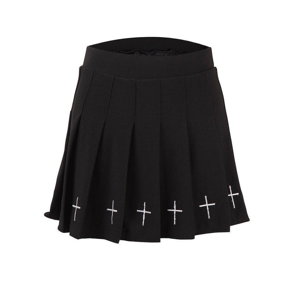 High-Waist Crucifix Mini Shirt - The Black Ravens