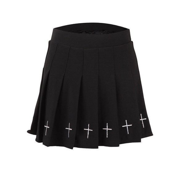 High-Waist Crucifix Mini Shirt-Black-One Size-