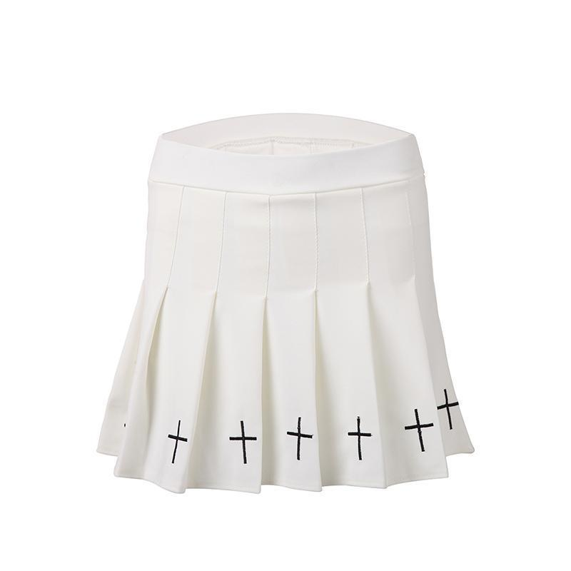 High-Waist Crucifix Mini Shirt-White-One Size-