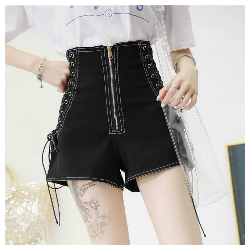 High Waist Drawstring Punk Shorts - The Black Ravens
