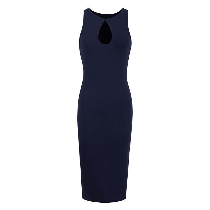 Hollow Chest Black Bodycon-Blue-S-