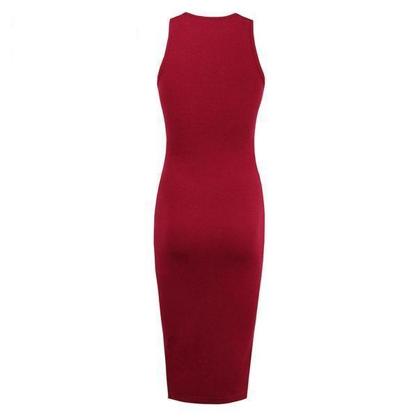Hollow Chest Black Bodycon-Red-S-
