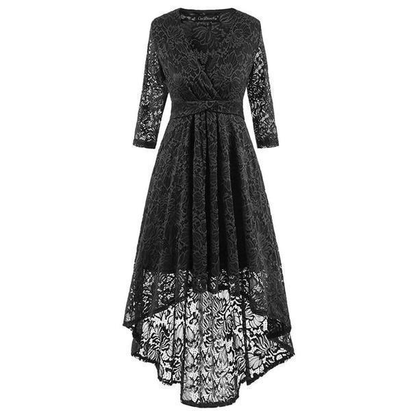 Hollow Chest Retro Asymmetrical Gown - The Black Ravens