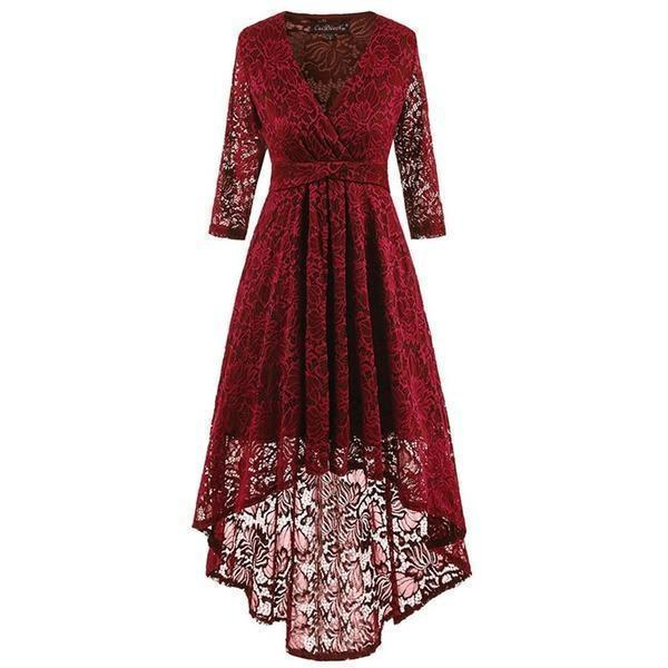 Hollow Chest Retro Asymmetrical Gown-Burgundy-S-