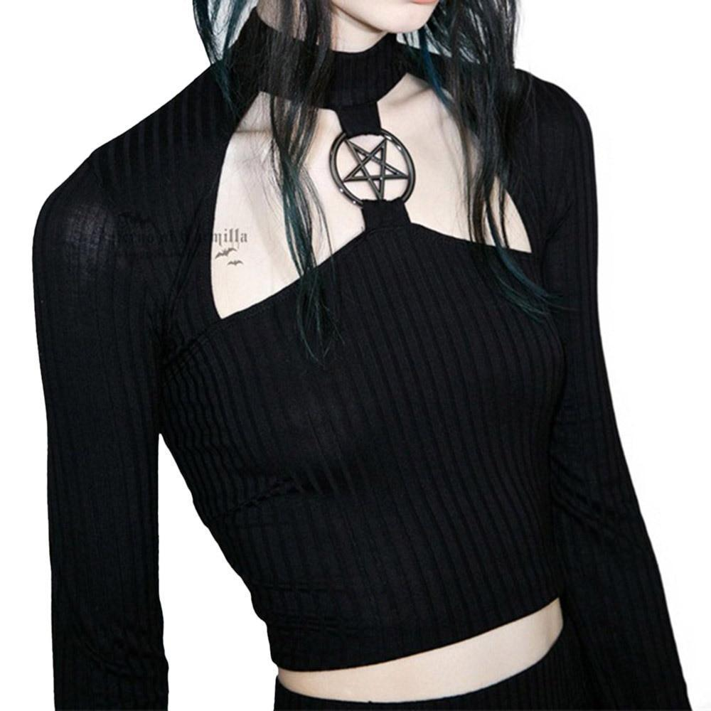 Hollow Out Chest Pentagram Gothic Crop Top-S-