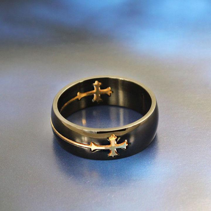 Holy-Cross Titanium Rings-10-Gold-