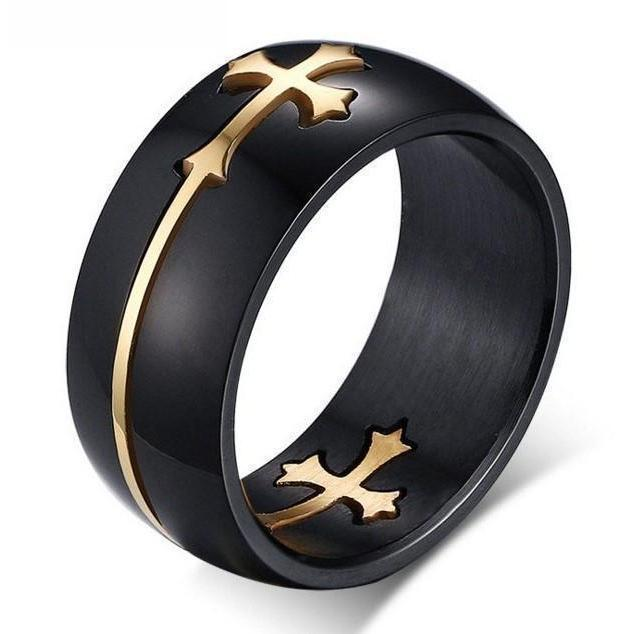 Holy-Cross Titanium Rings - The Black Ravens