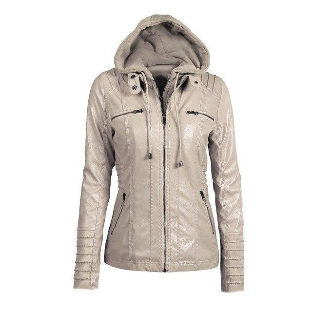 Hooded PU Leather Women's Outerwear-Apricot-S-