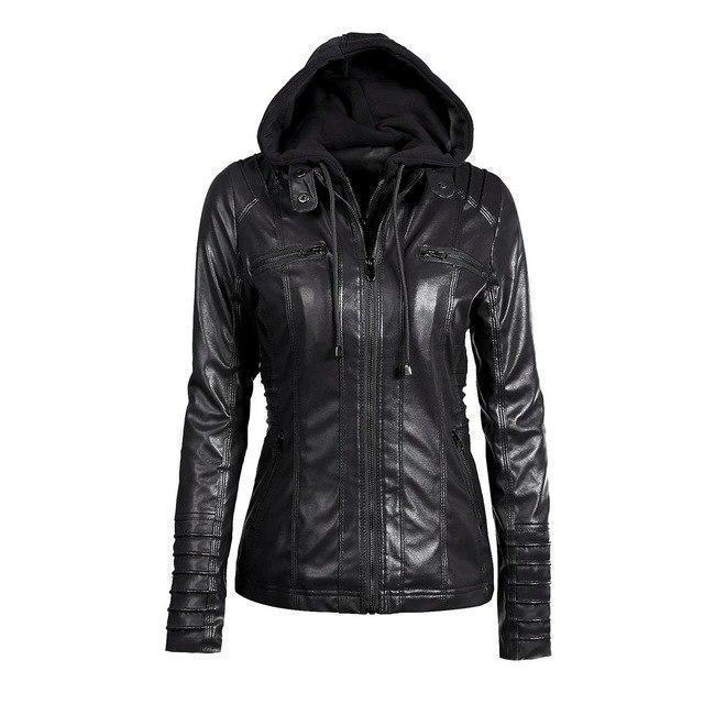 Hooded PU Leather Women's Outerwear-Black-S-