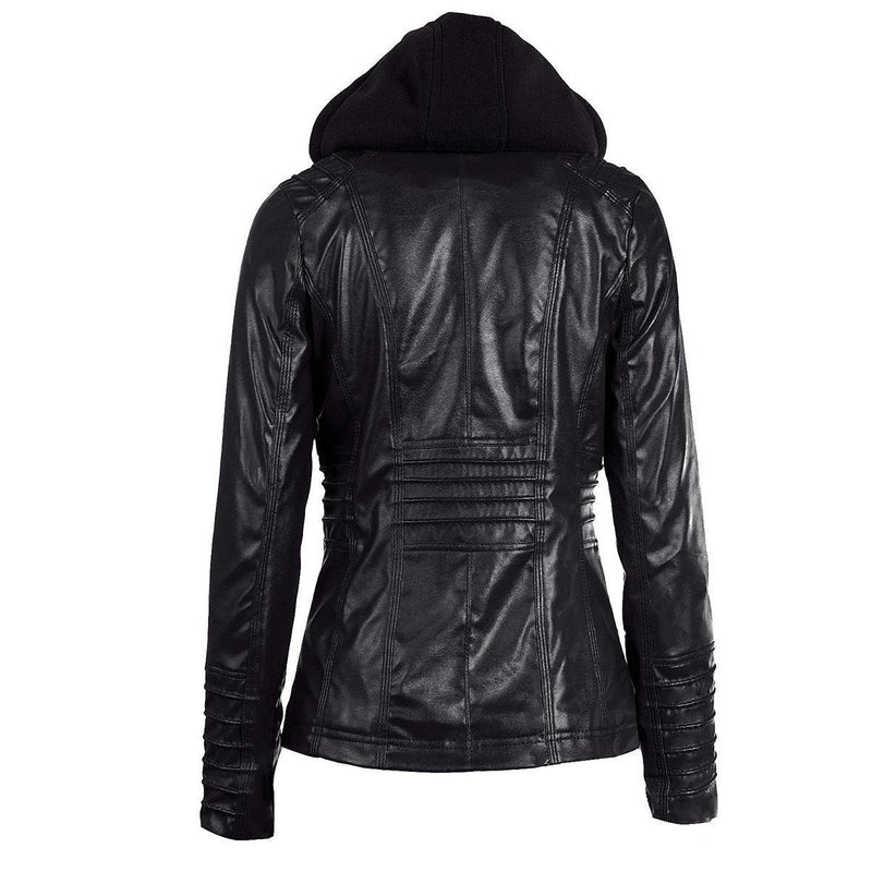 Hooded PU Leather Women's Outerwear-Black-XS-