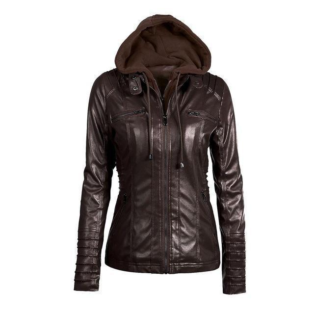 Hooded PU Leather Women's Outerwear-Coffee-S-