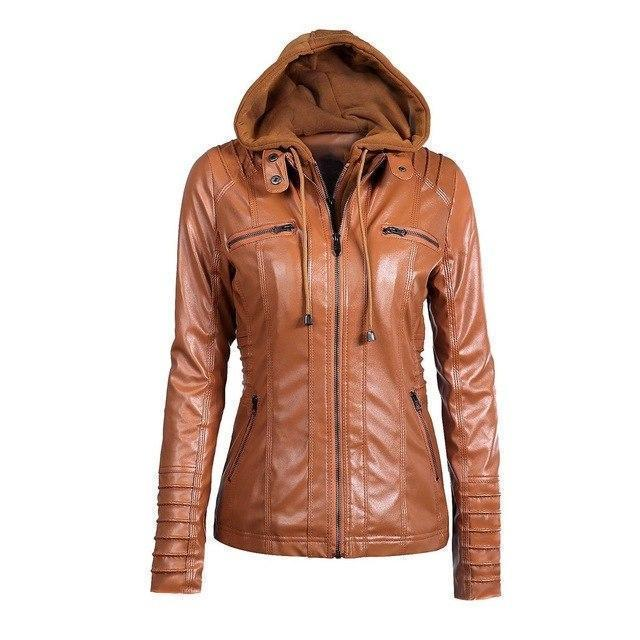 Hooded PU Leather Women's Outerwear-Khaki-S-