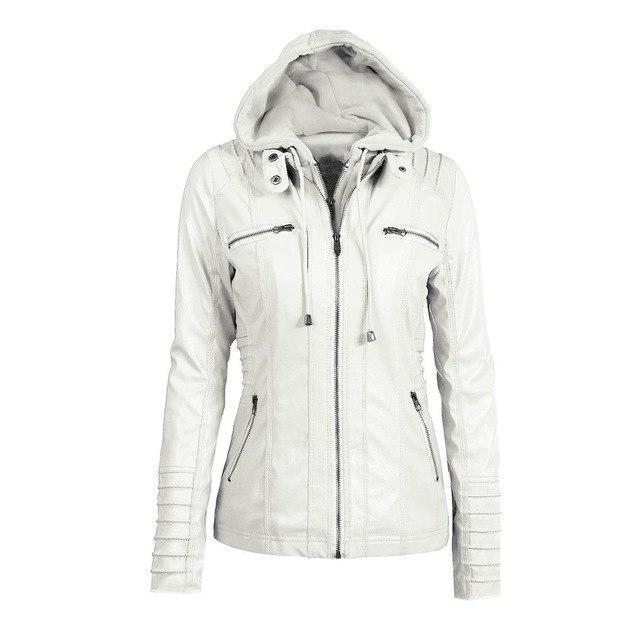 Hooded PU Leather Women's Outerwear-White-S-