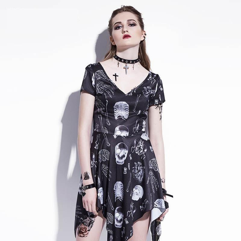 Hot Alternative Rock Skull Dress - The Black Ravens