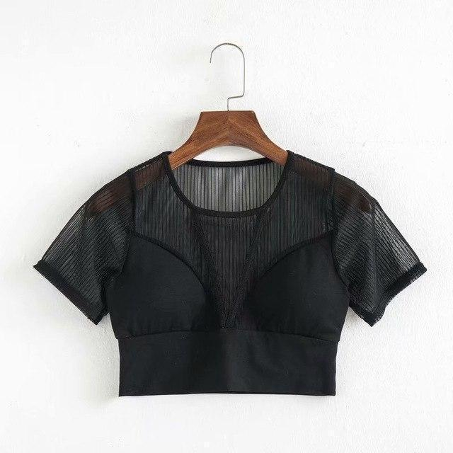Hot And Sexy Mesh Crop Top-Black-One Size-