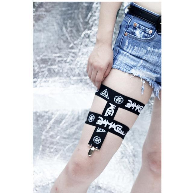 Hot and Sexy Punk Ladies Leg Garters - The Black Ravens