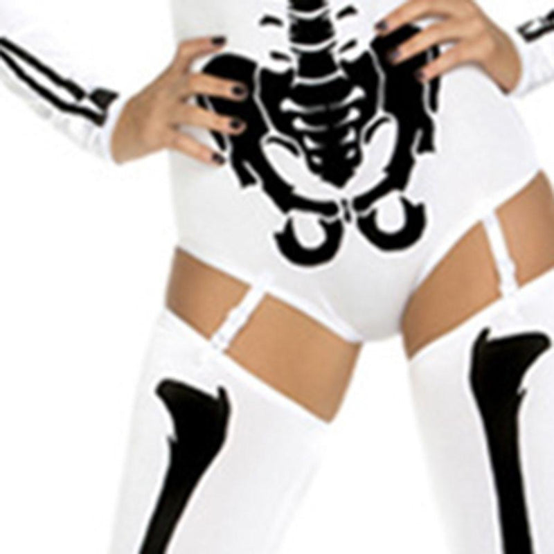 Hot And Sexy Skeleton Top And Pants Set-Red-