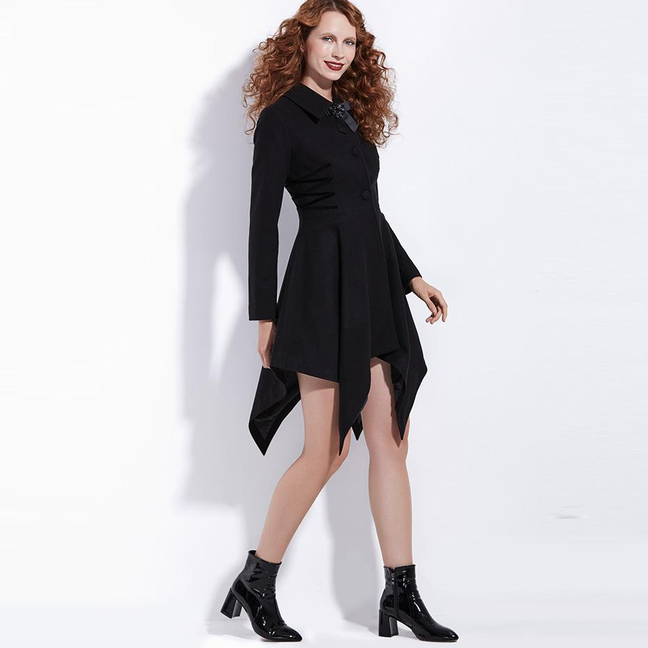 Hot Asymmetrical Black Bowknot Coat-Black-S-