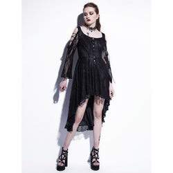Hot Asymmetrical Witches Black Lace Dress In Black And White-Black-S-