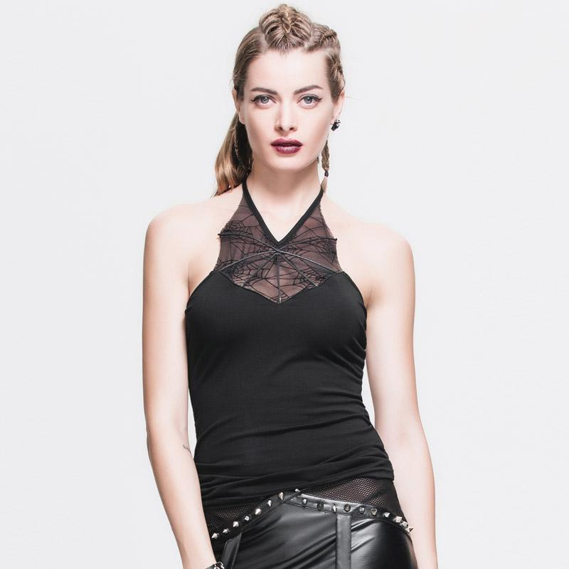 Hot Backless Gothic Halter Top-L-