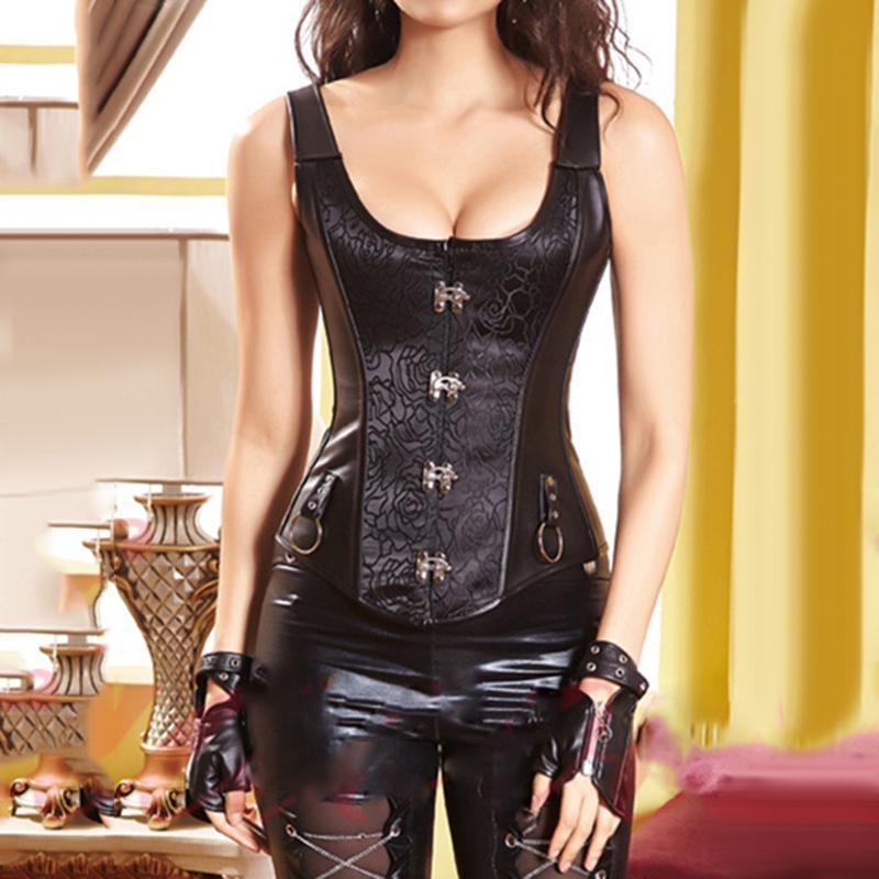 Hot Black Leather Punk Lace-Up Corset-Black-S-