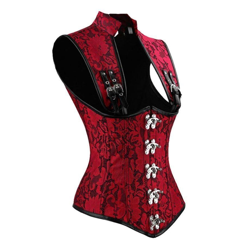 Hot Blood Red Gothic Vampire Corset For Women - The Black Ravens