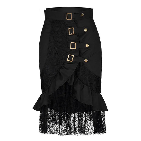 Hot Buckle Asymmetrical Punk Skirts-Black-S-