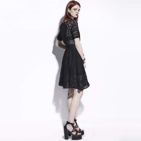 Hot Dark Lacey Dresses For Women-Black-S-