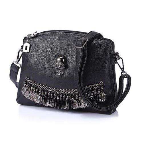Hot Eco-Leather Alternative Star Sign And Skulls Bag-Skull-