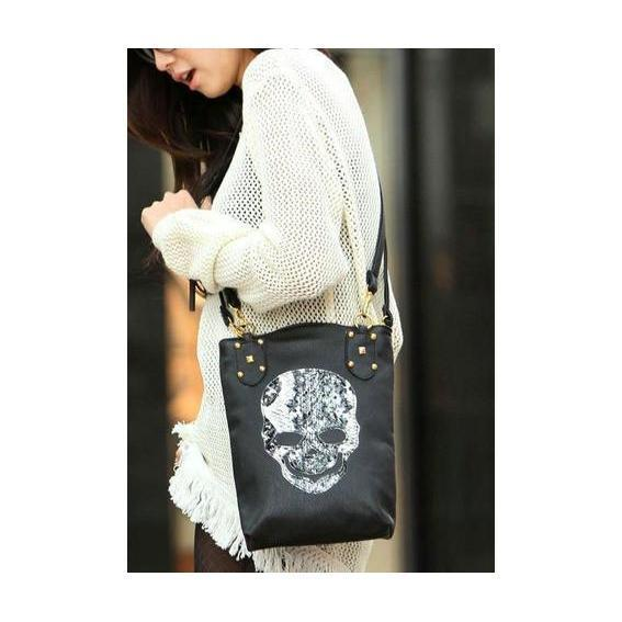 Hot Faux Leather Alternative Rocker Girl Skeleton Head Bag For Women - The Black Ravens