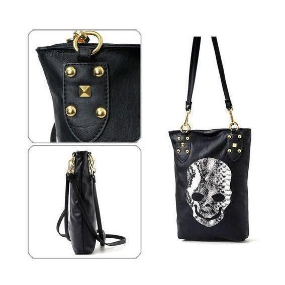 Hot Faux Leather Alternative Rocker Girl Skeleton Head Bag For Women-
