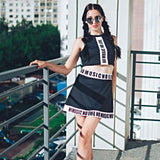 Hot Girls Mini-Dress And Music Top Combination-Black-S-