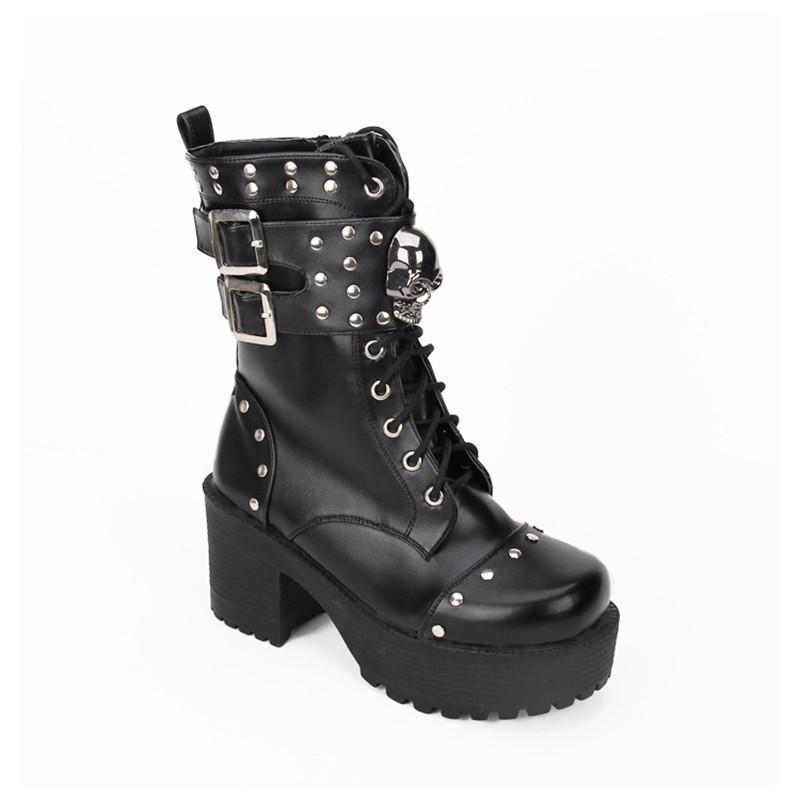 Hot Gothic Rivet Lolita Boots - The Black Ravens