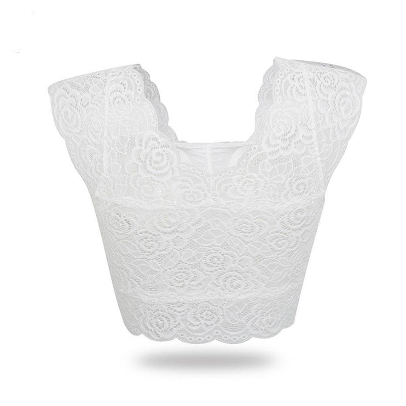 Hot Lace Pattern Padded Bra-White-One Size-