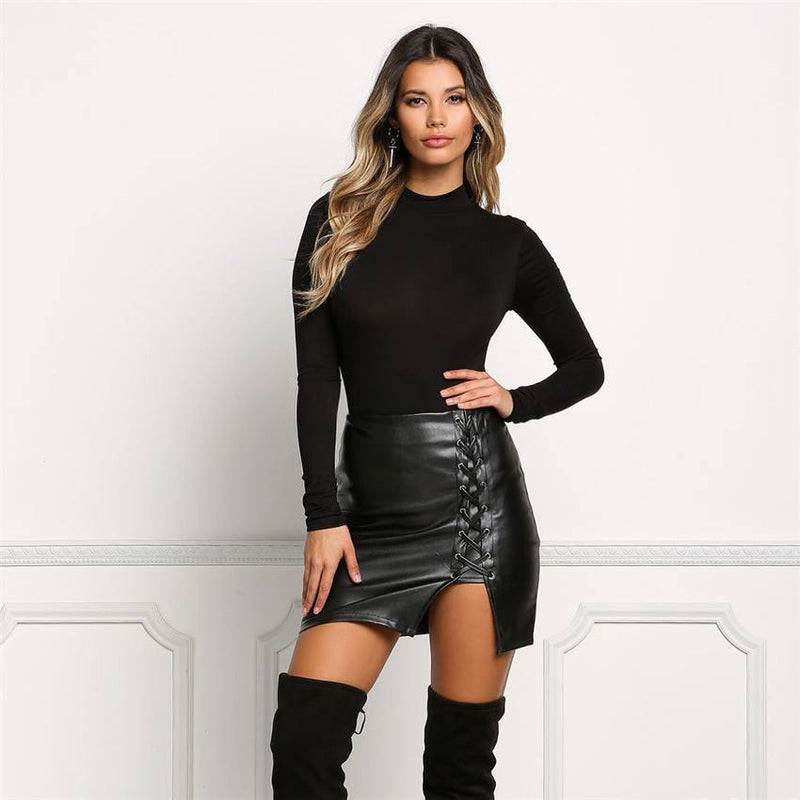 Hot Laced PU Leather Alternative Skirts-Black-S-
