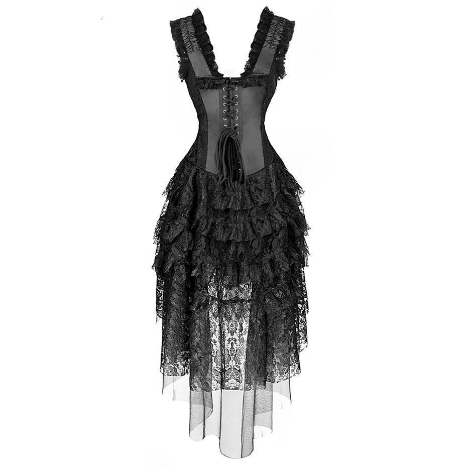 Hot Long Gothic Asymmetrical Lace Corsets - The Black Ravens